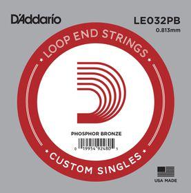 D'Addario LE032PB Phosphor Bronze Loop End Single String - .032