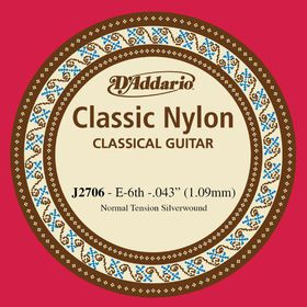 D'Addario J2706 Student Nylon Normal Tension Classical Guitar Single String - E Sixth String
