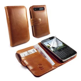 Tuff-Luv Vintage Genuine Leather Case/Cover for the BlackBerry Q20 Classic - Brown