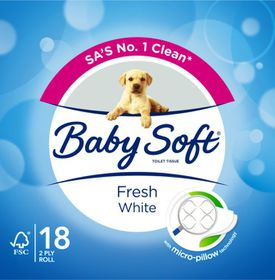 BabySoft White 2 Ply - Pack of 18