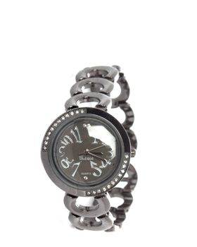 Bad Girl Halo Analogue Watch in Gunmetal