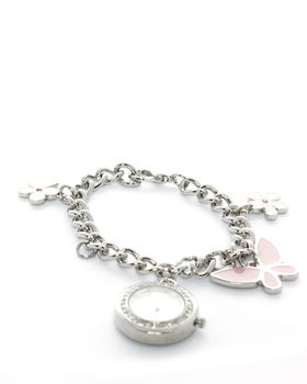 Bad Girl Analogue Charm Watch - Silver