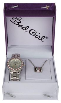 Bad Girl Jade Watch and Necklace Set - Silver and Pink