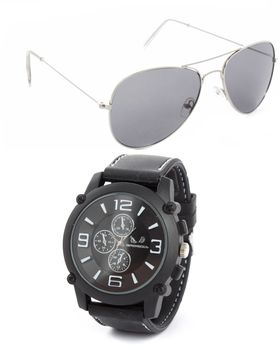 Bad Boy Watch And Sunglass Set In Black And White