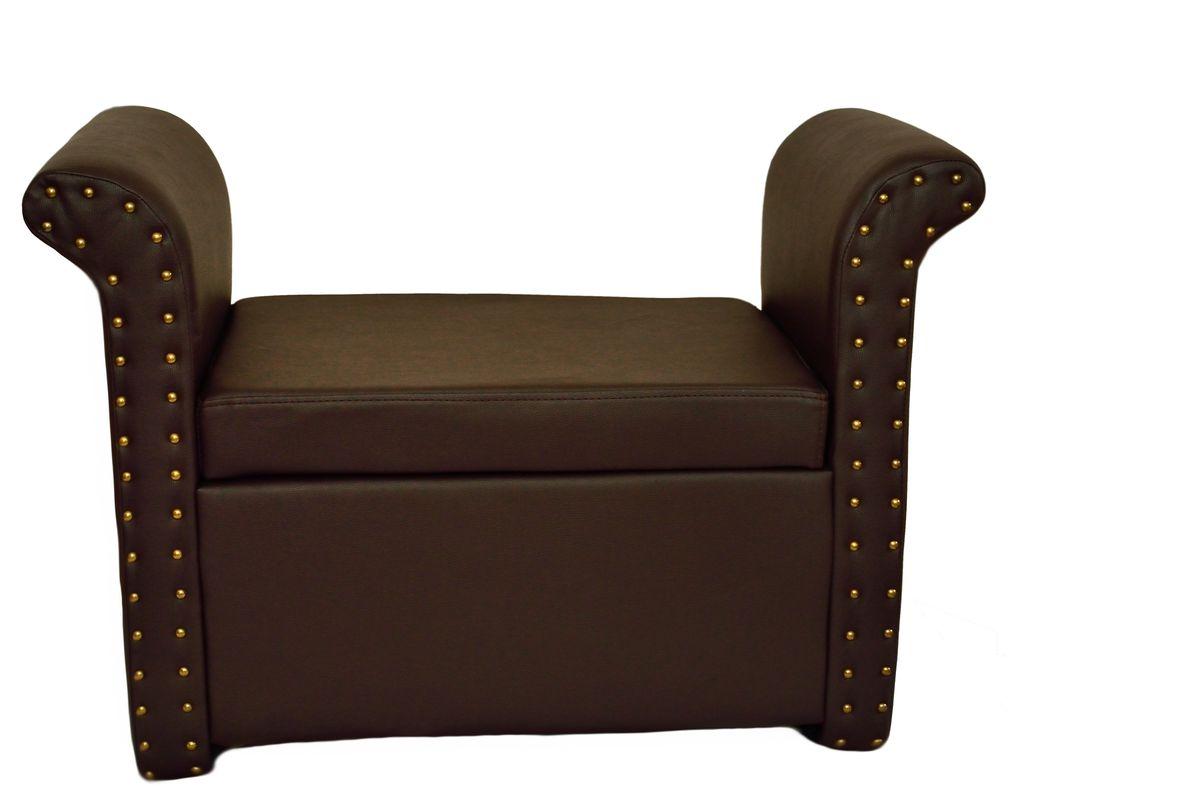 hazlo faux leather storage bench ottoman brown - Leather Storage Bench