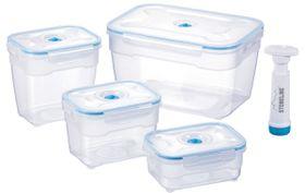 Stoneline - 4 Piece Square Vacuum Saver Storage Containers - Blue