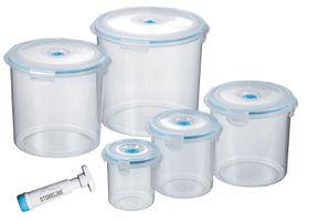 Stoneline - 5 Piece Round Vacuum Saver Storage Containers - Blue