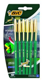 Bic Orange Fine Rugby Series Ballpoint Pens - Blister of 6 Blue Ink