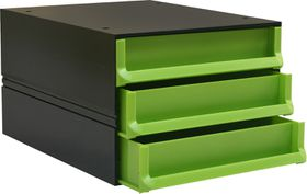 Bantex Texo Modular 3 Drawer Storage System - Lime Green