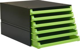 Bantex Texo Modular 6 Drawer Storage System - Lime Green
