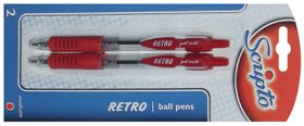 Scripto Retro 2 Ballpoint Pens - Red Ink