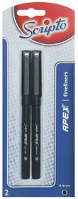 Scripto Apex 2 0.4mm Fineliners - Black