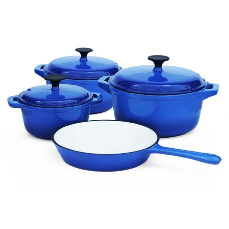 Fine Living Double Blue Cast Iron Pot Set Of 7