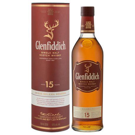 6749c8ebe73fa Glenfiddich - 15 Year Old Solera Reserve Single Malt Whisky - 750ml ...