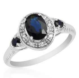 Miss Jewels - Natural Sapphire & Diamond Engagement Ring in 10ct White Gold (Size: L)