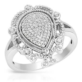 Miss Jewels - 0.35ctw Natural Diamond Engagement Ring in 10ct White Gold (Size: M1/2)