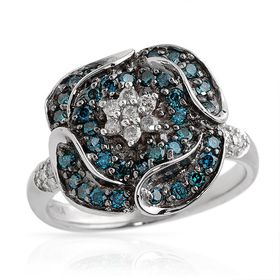 Miss Jewels - 0.53ctw Natural Blue & White Diamond Engagement Ring in 925 Sterling Silver (Size: N1/2)