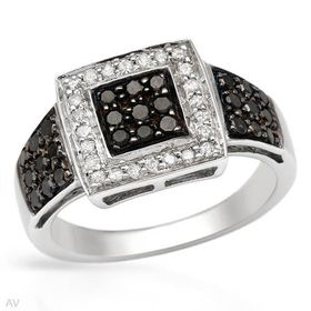 Miss Jewels - 0.77ctw Natural Black & White Diamond Engagement Ring in 925 Sterling Silver (Size: N1/2)