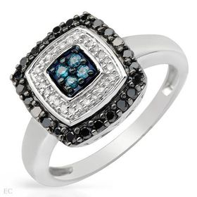 Miss Jewels - 0.25ctw Natural Blue, Black & White Diamond Engagement Ring in 925 Sterling Silver (size: N1/2)