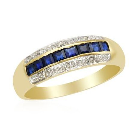 Miss Jewels Natural Square Sapphire 0 03ctw Diamond Engagement Ring In 10ct Yellow Gold Size L