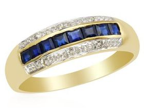 Miss Jewels - Natural Square Sapphire & 0.03ctw Diamond Engagement Ring in 10ct Yellow Gold (Size: L)