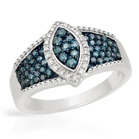 Miss Jewels - 0.58ctw Natural Blue & White Diamond Dress Ring in 10ct White Gold (Size: P1/2)