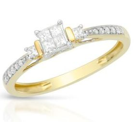 Miss Jewels - 0.25ctw Natural Diamond Engagement Ring in 10ct Yellow Gold (Size: N)