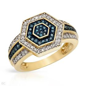 Miss Jewels - 0.55ctw Natural Blue & White Diamond Engagement Ring in 10ct Yellow Gold (Size: P)