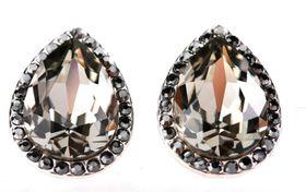 Civetta Spark pear crystal earring - made with grey Swarovski elements crystal