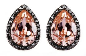 Civetta Spark pear crystal earring - made with vitage pink Swarovski elements crystal