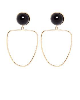 All Heart Black Stone With Semi Circle Drop Earrings