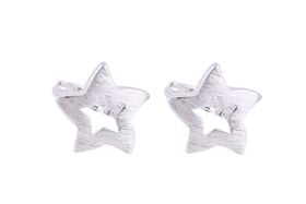 Coeval Medium Satin Silver Star Cut Out Clip in Hook Earrings