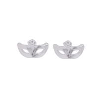 Coeval Small Masquerade Mask Silver Stud Earrings