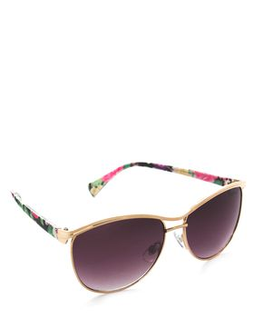 Bad Girl Tiara Sunglasses in Floral Black and Gold