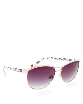Bad Girl Tiara Sunglasses in Floral White and Gold