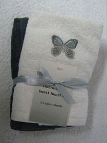 Zorbatex - 2 Piece Butterfly Guest Towel Gift Set - White & Shale Grey