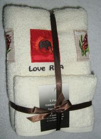 Zorbatex - 3 Piece Embroidered Love Rsa Towel Gift Set - Beige