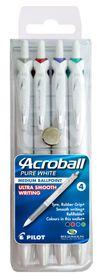 Pilot Acroball Pure White Medium Ballpoint Pens - Wallet of 4