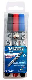 Pilot V Board Master S Ultra Fine Whiteboard Markers - Wallet of 3
