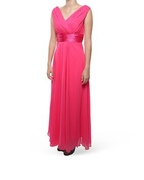 Snow White Shoulder V-Neck Long Bridesmaid/Evening Gown - Cerise Pink