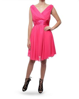Snow White Shoulder V-Neck Cocktail Bridesmaid/Evening Gown - Cerise Pink