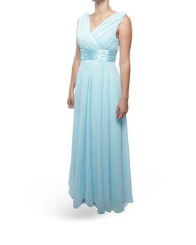Snow White Shoulder V-Neck Long Bridesmaid/Evening Gown - Sky Blue