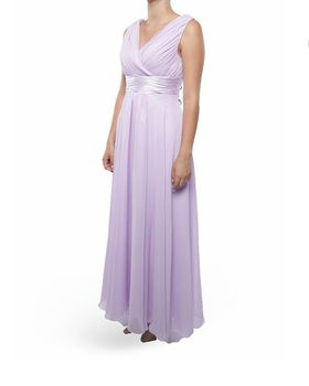 Snow White Shoulder V-Neck Long Bridesmaid/Evening Gown - Lilac