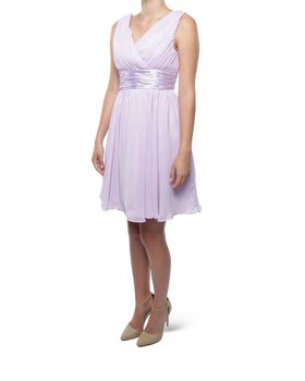 Snow White Shoulder V-Neck Cocktail Bridesmaid/Evening Gown - Lilac