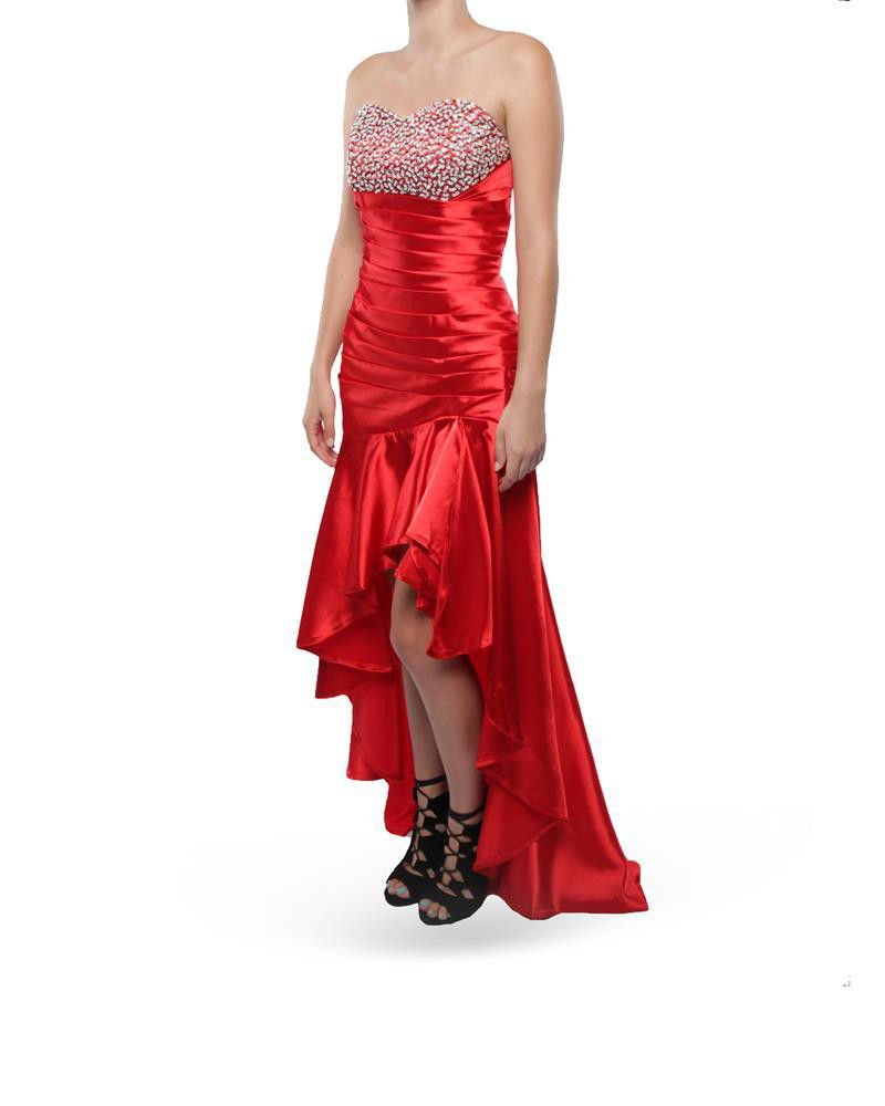 Snow White High-low Strapless Evening Gown - Red   Buy Online in ...