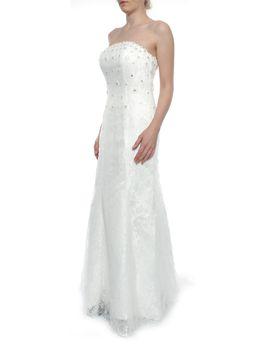 Snow White Strapless Mermaid Daisy Sparkle Lace Wedding Gown - White
