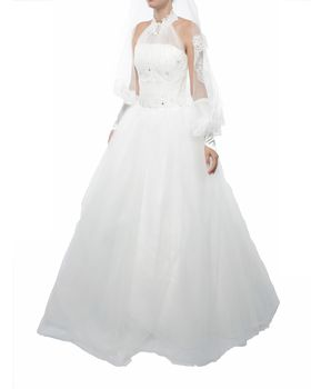 Snow White Lace and Sparkle Halter Princess Wedding Gown - White