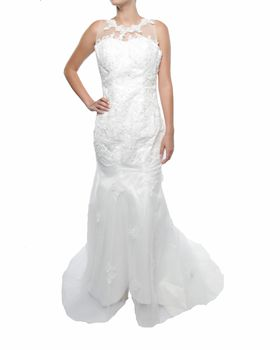 Snow White Lace Shoulder Fishtail Wedding Gown - White