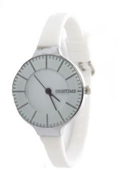 Digitime Ladies Retro Analogue watch - White & Silver