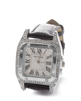 Digitime Ladies Pentac Analogue watch in Black and Silver